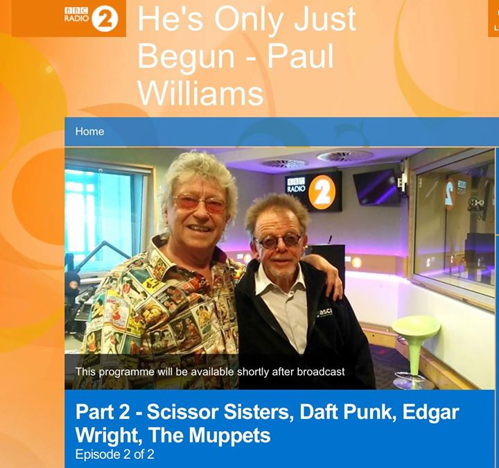 If you're a fan of the Scissor Sisters or Daft Punk - and - wait for it - The Muppets - then tune in to BBC Radio 2 at 10pm tonight. Lorna Osborne's songwriter hubby Gary presents the 2nd part of his portrait of friend Paul Williams, the hit-maker  behind many classic songs including
