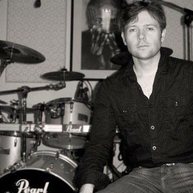 Drummer Stephan Ebn at his kit.