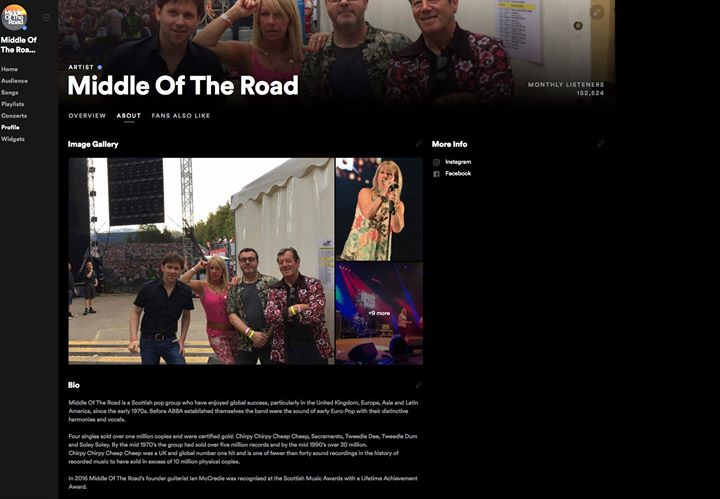 New Spotify profile for all things Middle of the Road. Like and follow us for up-to-date music, tickets and band news🐥